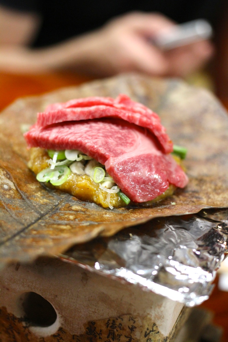 Kyoya - Takayama - Hida Beef Grilled with Miso over Houba Leaf